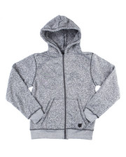 Outerwear - Melange Fleece Zip Up Hoody (8-20)-2455032