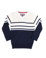 Sweatshirts & Sweaters - Striped Color Blocked V-Neck Sweater (4-7)-2455012