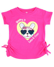 Girls - Ruched Sleeve Sequin S/S Tees (4-6X)-2455098