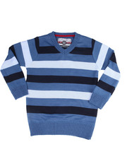 Sweatshirts & Sweaters - Multi Color Stripe V-Neck Sweater (4-7)-2455022