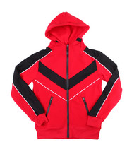 Outerwear - Color Blocked Moto Fleece Hood Zip W/Contrast (4-7)-2454908