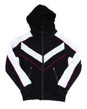Outerwear - Color Blocked Moto Fleece Hood Zip W/Contrast (8-18)-2454953