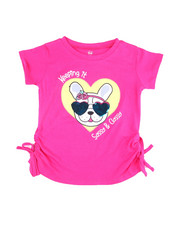 Girls - Ruched Sleeve Sequin S/S Tees (2T-4T)-2455086