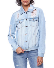 Womens-Winter - Destructed Denim Trucker Jacket-2455923