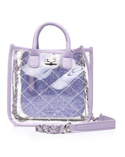 Satchels - Clear Quilted Stachel W/ Inside Glitter Pouch-2453662
