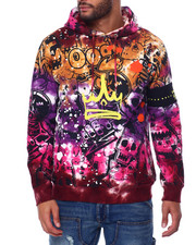 offbeat - Crown w Skull Grafitti Tie Dye Hoodie-2456222