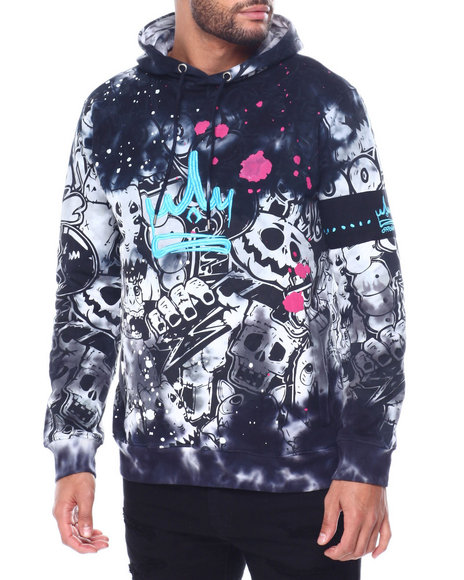 offbeat - Crown w Skull Grafitti Tie Dye Hoodie