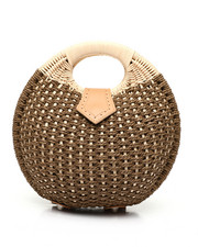 Fashion Lab - Round Woven Canteen Handbag W/ Cutout Handle-2453659