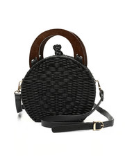 Fashion Lab - Wicker Canteen Bag W/ Wooden Handles-2453656