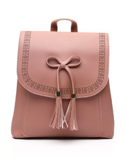 Fashion Lab - Bow And Tassel Front Flap Backpack-2453822