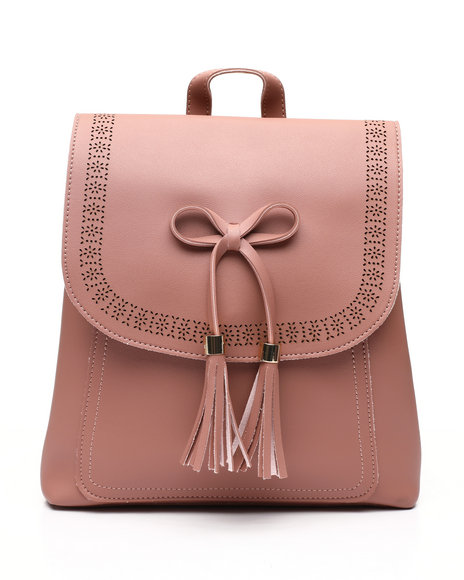 Fashion Lab - Bow And Tassel Front Flap Backpack