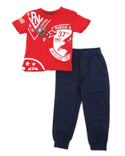 Parish - Graphic Tee & Twill Jogger Pants Set (8-20)-2455409