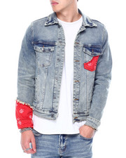 split-trends - Bering Indigo Red Bandana Denim Jacket-2456806