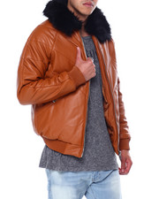 Mens-Winter - PU CHEVRON JACKET W FAUX FUR COLLAR-2456702