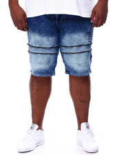 Big & Tall - Zipped Biker Denim Shorts (B&T)-2445477