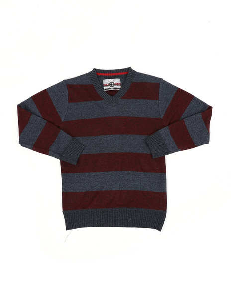 Arcade Styles - Rugby Striped V-Neck Marled Sweater (8-18)