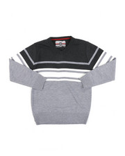 Sweatshirts & Sweaters - Striped Color Blocked V-Neck Sweater (8-18)-2455332