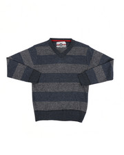 Sweatshirts & Sweaters - Rugby Striped V-Neck Marled Sweater (8-18)-2455306