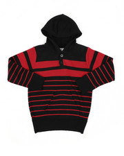 Sweatshirts & Sweaters - Striped Pullover Hooded Henley Sweater (4-7)-2455281