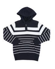 Sweatshirts & Sweaters - Striped Pullover Hooded Henley Sweater (4-7)-2455266