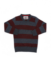 Sweatshirts & Sweaters - Rugby Striped V-Neck Marled Sweater (4-7)-2455037