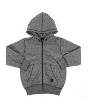 Hoodies - Melange Fleece Zip-Up Hoodie (4-7)-2456670
