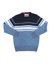 Sweatshirts & Sweaters - Striped Color Blocked V-Neck Sweater (8-18)-2455327