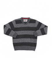 Sweatshirts & Sweaters - Rugby Striped V-Neck Marled Sweater (8-18)-2455301