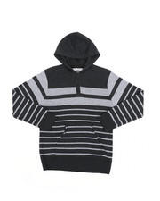 Sweatshirts & Sweaters - Striped Pullover Hooded Henley Sweater (8-18)-2455271