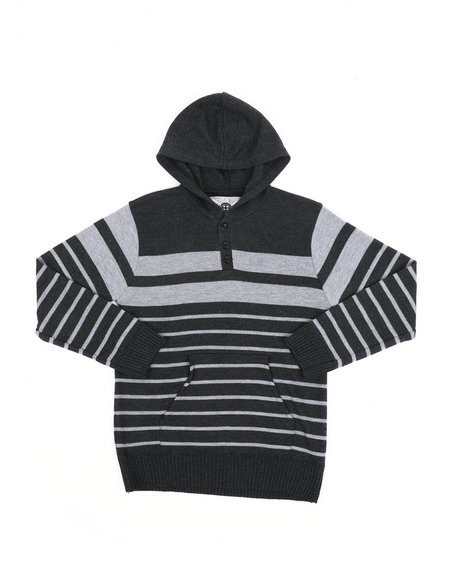 Arcade Styles - Striped Pullover Hooded Henley Sweater (8-18)