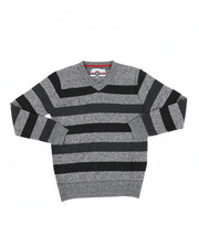 Sweatshirts & Sweaters - Multi Color Stripe V-Neck Sweater (8-18)-2454962