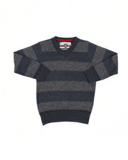 Sweatshirts & Sweaters - Rugby Striped V-Neck Marled Sweater (4-7)-2455296
