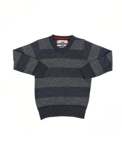 Arcade Styles - Rugby Striped V-Neck Marled Sweater (4-7)