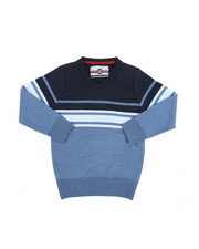 Sweatshirts & Sweaters - Striped Color Blocked V-Neck Sweater (4-7)-2455337