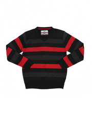 Sweatshirts & Sweaters - Multi Color Stripe V-Neck Sweater (8-18)-2455251