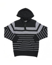 Sweatshirts & Sweaters - Striped Pullover Hooded Henley Sweater (4-7)-2455276