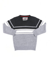 Sweatshirts & Sweaters - Striped Color Blocked V-Neck Sweater (4-7)-2455348