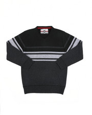 Sweatshirts & Sweaters - Striped Color Blocked V-Neck Sweater (8-18)-2455322