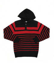 Sweatshirts & Sweaters - Striped Pullover Hooded Henley Sweater (8-18)-2455261