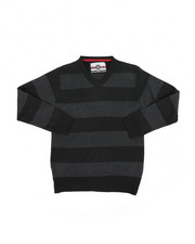 Sweatshirts & Sweaters - Rugby Striped V-Neck Marled Sweater (8-18)-2455317