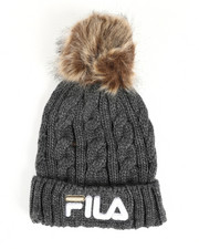 Mens-Winter - Cable Knit Cuffed Beanie W/ Faux Fur Pom Pom-2457940
