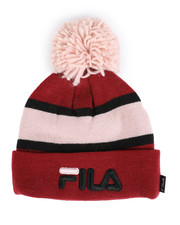 Mens-Winter - Striped Cuffed Beanie With Pom Pom-2457937