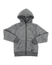 Hoodies - Melange Fleece Zip-Up Hoodie (8-20)-2456665
