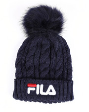 Mens-Winter - Cable Knit Cuffed Beanie W/ Faux Fur Pom Pom-2457939
