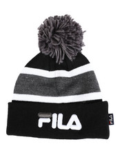 Mens-Winter - Striped Cuffed Beanie With Pom Pom-2457936