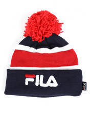 Fila - Striped Cuffed Beanie With Pom Pom-2457938