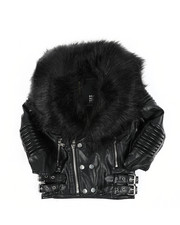 Sizes 4-7x - Kids - Faux Leather Moto Jacket W/ Faux Fur Trim 4-14)-2457720
