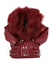 Sizes 4-7x - Kids - Faux Leather Moto Jacket W/ Faux Fur Trim 4-14)-2457727