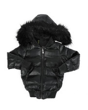 Outerwear - Faux Leather Quilted Puffer Jacket W/ Faux Fur Trim (4-14)-2457713