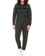 Sets - Stripe Jersey Hoodie & Legging Set (Plus)-2458803
